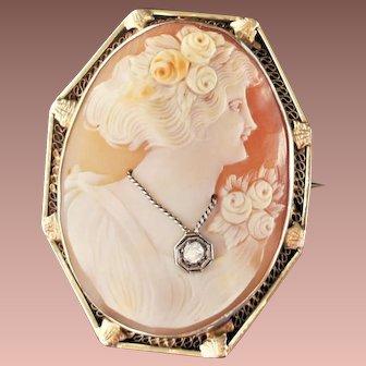 Vintage 14k White Yellow Gold Diamond Large Cameo Brooch Pendant c1930-50