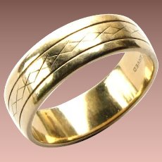 Vintage 1950 Art Carved 14k Yellow Gold Wide Band Ring sz 9.25