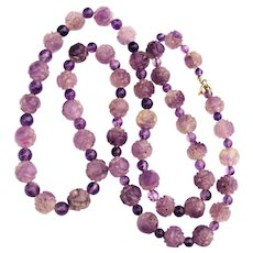 Vintage Chinese Carved Amethyst Quartz Shou Bead Necklace 28 inches