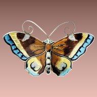 Vintage Norway David Andersen 925S Gold Vermeil Enamel Large Multi Color Butterfly Brooch
