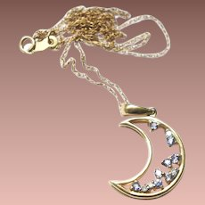 Estate 14k Gold Diamond Tanzanite Signed CID Clyde Duneier Crescent Moon Pendant and Chain Necklace