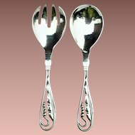Rare Georg Jensen Sterling Silver Hammered Small Salad Server Set Ornamental Pattern 1933-44
