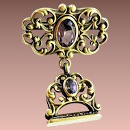Art Deco era Art Nouveau style Gold Plated Amethyst Quartz Fob Pendant Charm Brooch 1937