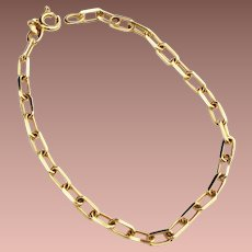 Estate 14k Yellow Gold Italian Large Rectangular Chain Link Bracelet or Charm