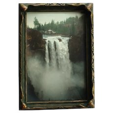 Antique Asahel Curtis Hand Tinted Photograph Snoqualmie Falls Orig Pie Crust Frame