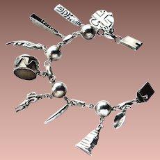 Vintage Mexico Signed Sterling Silver Ball Souvenir Theme Large Charm Bracelet