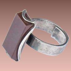 Vintage Finland Mid Century Modern Sterling Silver Carnelian Kaunis Koru Ring