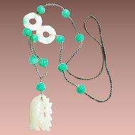 Art Deco Chinese Carved Jade Fish Bi Disc Peking Glass Pendant Necklace c1930