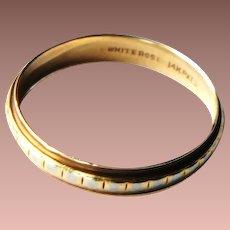 Large Yellow and White 14k Gold Narrow Band Ring US sz 12.25