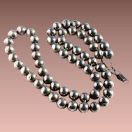 """Vintage Late Art Deco Mexico Sterling Silver Bench Made 12mm 31"""" Navajo Pearl Bead Necklace"""