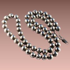 "Vintage Late Art Deco Mexico Sterling Silver Bench Made 12mm 31"" Navajo Pearl Bead Necklace"