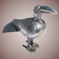 Vintage Taxco Mexico Figural Onyx Sterling Silver Bird Figurine