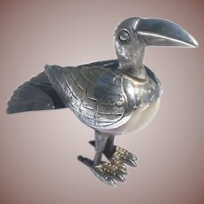 Vintage Taxco Mexico Figural Onyx Sterling Silver Bird Figurine