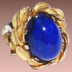 Estate 14k Yellow Gold 10ct Lapis Lazuli Cabochon Ring sz5.5