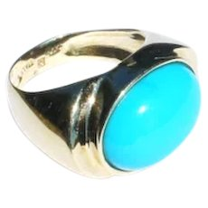 Estate Italian 14k Yellow Gold Persian Turquoise Cabochon Cocktail Ring sz7