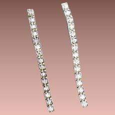 Art Deco 18k White Gold Diamond Riviere Earrings Conversion c1930