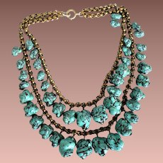 Art Deco Czechoslovakian Gilded Brass Hubbell Turquoise Art Glass Nugget Fringe Necklace c1930