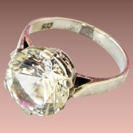 Art Deco Sterling Silver Large Costume Paste Solitaire Cocktail Pinky Ring sz5US