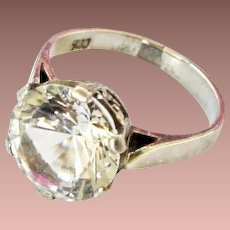 Art Deco Sterling Silver Large Costume Paste Solitaire Cocktail Pinky Ring