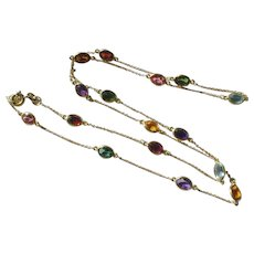 """Estate 750 18k Yellow Gold Multi Gemstone by the Yard Necklace Chain 24"""""""