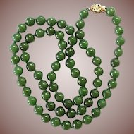 "Vintage Estate Chinese Gold Vermeil 7mm Spinach Jade 24"" Bead Necklace"