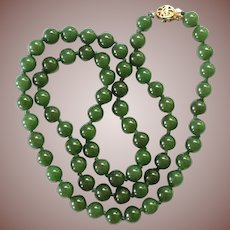 """Vintage Estate Chinese Gold Vermeil 7mm Spinach Jade 24"""" Bead Necklace"""