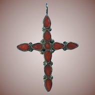 Vintage Signed Southwest Coral Inlay Sterling Silver Cross Pendant
