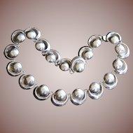 Vintage Mexico Art Deco Sterling Silver Hollow Half Sphere Crescent Link Necklace