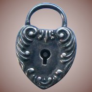 Antique Art Nouveau Sterling Silver Heart Lock Charm - no key c1910
