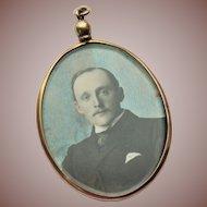 Antique Edwardian 10k Rose Gold Hand Tinted Photograph Miniature Pendant Locket