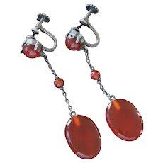 Art Deco German Sterling Silver Carnelian Pendant Drop Screwback Earrings c1925