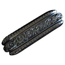 Fabulous Art Nouveau Art Deco Black Carved Large Bakelite Bar Brooch