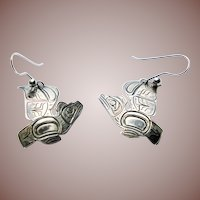 Vintage Pacific Northwest Coast Tlingit Silver Totem Earrings Raven Signed