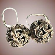 Victorian style Handcrafted Sterling Silver Openwork Sphere Ball Pierced Earrings