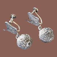 Victorian 14k Yellow Gold Sterling Silver Filigree Ball Drop Earrings Art Deco Screwback Conversions