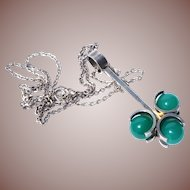 Finnish Mid Century Modern Kupitaan Kultu Elis Kauppi Sterling Silver Floating Chrysoprase Sphere Pendant Necklace