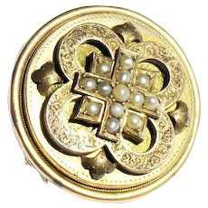 Victorian 10-14k Gold Renaissance Revival Seed Pearl Locket Mourning Brooch c1880