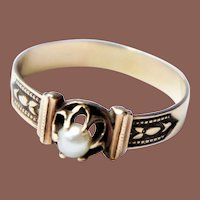 Victorian Aesthetic 14k Gold Pearl Solitaire Ring US sz 8.75