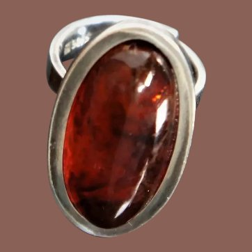 Danish Mid Century Modern Sterling Silver Baltic Amber H Ulrichsen Cocktail Ring