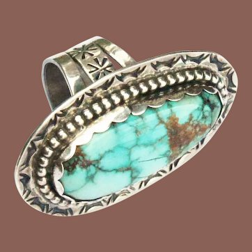 Vintage Pawn Navajo Sterling Silver Large Knuckle to Knuckle Turquoise Statement Ring sz 9.75