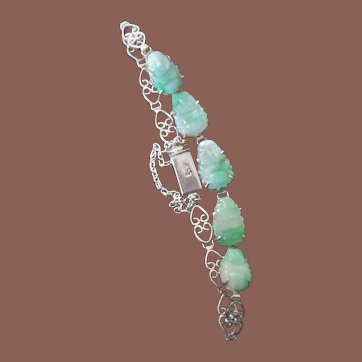 Vintage Chinese Export 925 Sterling Silver Carved Apple Green Jade Buddha Bracelet