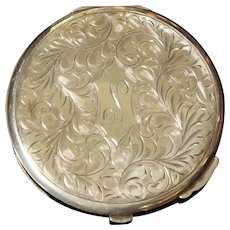 Vintage Canadian Birks Sterling Silver Compact Engraved N c1950