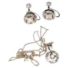 Late Art Deco Mid Century 14k White Gold Diamond Pendant and Earrings Set c1950
