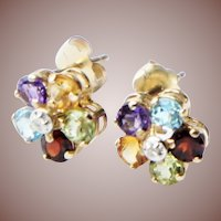 Vintage Estate 14k Gold Multi Gemstone Diamond Flower Post Earrings Double Dice Mark