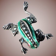 Tiny Vintage Sterling Silver Green Enamel Marcasite Figural Frog Pin set with Ruby Gemstone Eyes