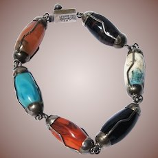 Mexico Mid Century Sterling Silver Multi Stone Link Bracelet Signed