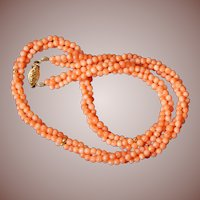 Estate 14k Gold Salmon Coral Braided Bead Collar Necklace