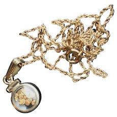 Vintage c1950 Natural Gold Dust Nugget Miniature Locket Pendant Charm Necklace