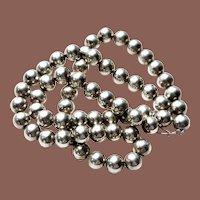 "Vintage Navajo Pearl Sterling Silver HEAVY 10mm 24"" Bead Necklace"
