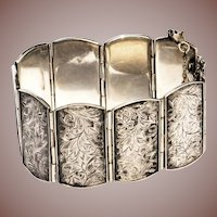 Vintage Sterling Silver Floral Engraved Wide Panel Bracelet